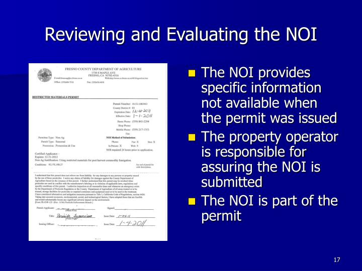 Reviewing and Evaluating the NOI