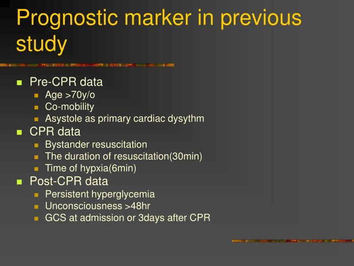 Prognostic marker in previous study