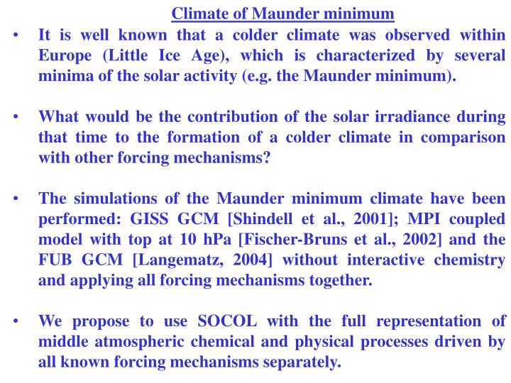 Climate of Maunder minimum