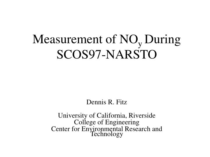 measurement of no y during scos97 narsto n.