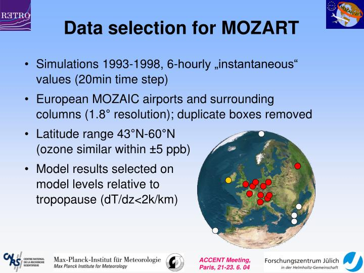 Data selection for MOZART