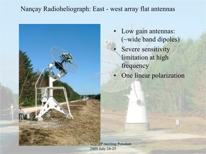 Nançay Radioheliograph: East - west array flat antennas