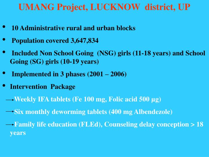 UMANG Project, LUCKNOW  district, UP