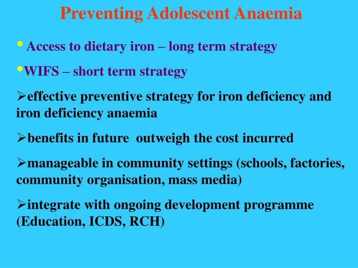 Preventing Adolescent Anaemia