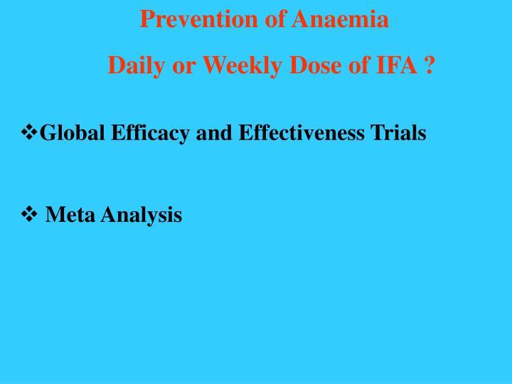 Prevention of Anaemia
