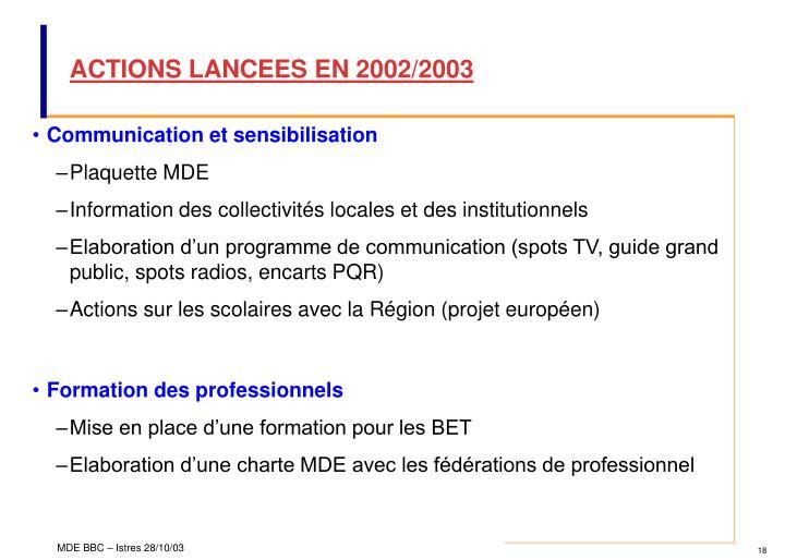 ACTIONS LANCEES EN 2002/2003