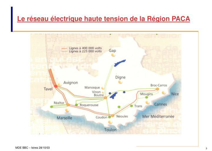 Le réseau électrique haute tension de la Région PACA