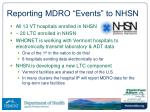 reporting mdro events to nhsn