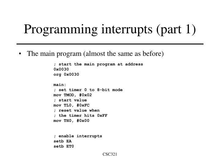 Programming interrupts (part 1)