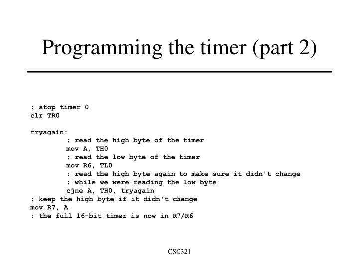Programming the timer (part 2)