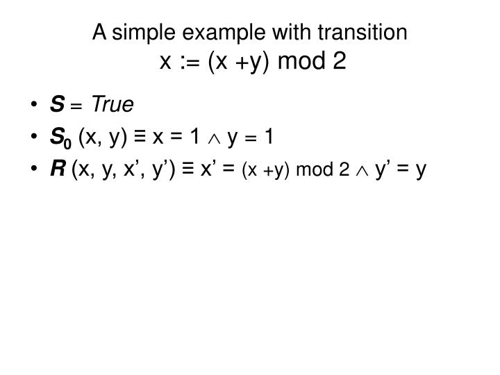 A simple example with transition