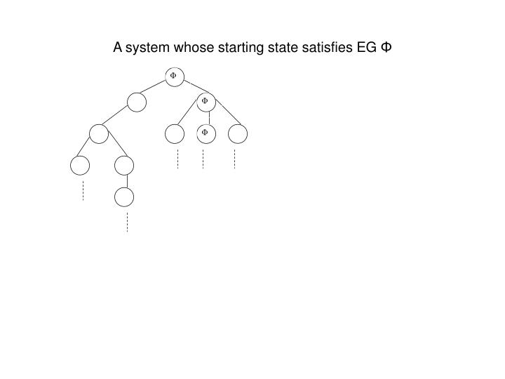 A system whose starting state satisfies EG