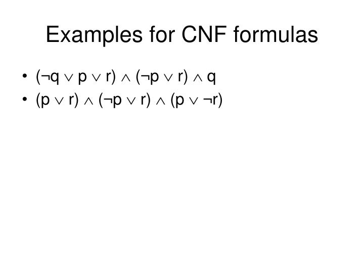 Examples for CNF formulas