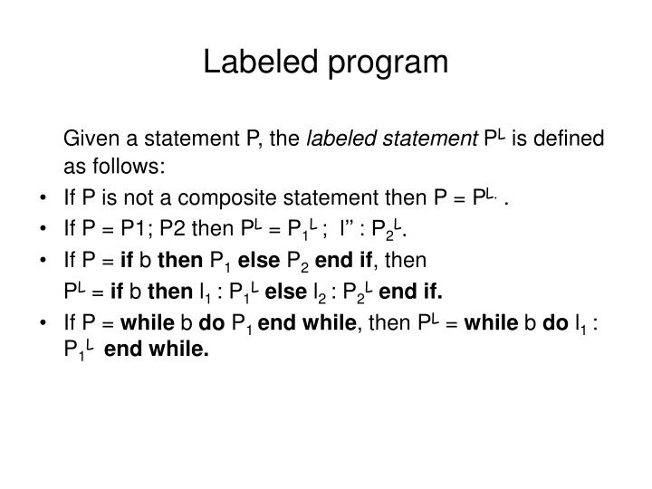 Labeled program