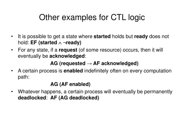 Other examples for CTL logic