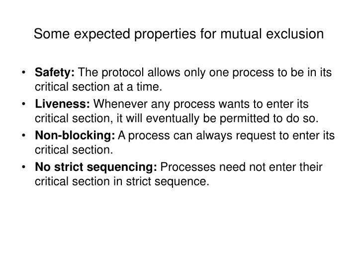 Some expected properties for mutual exclusion