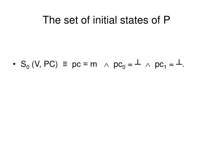 The set of initial states of P