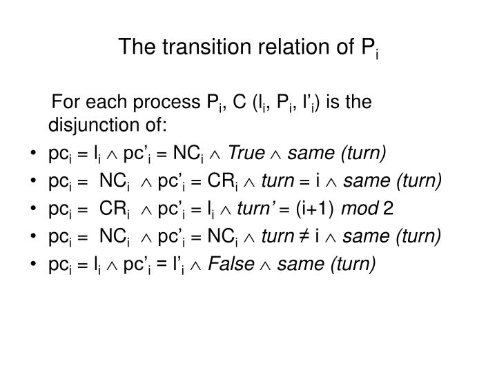 The transition relation of P