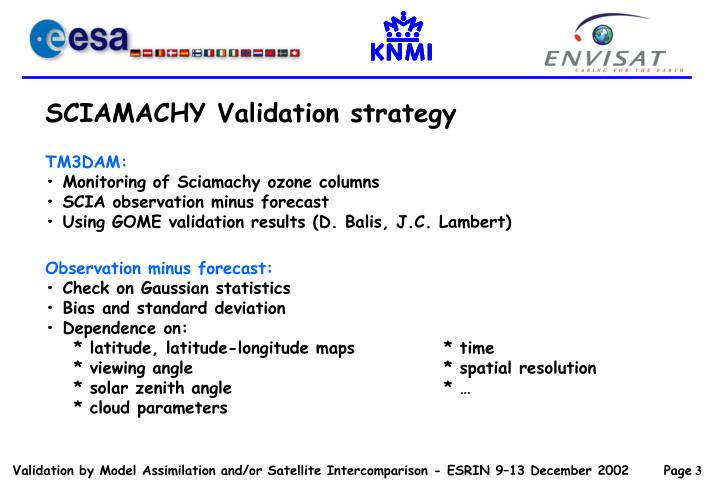 SCIAMACHY Validation strategy