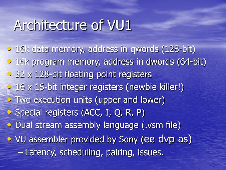 Architecture of VU1
