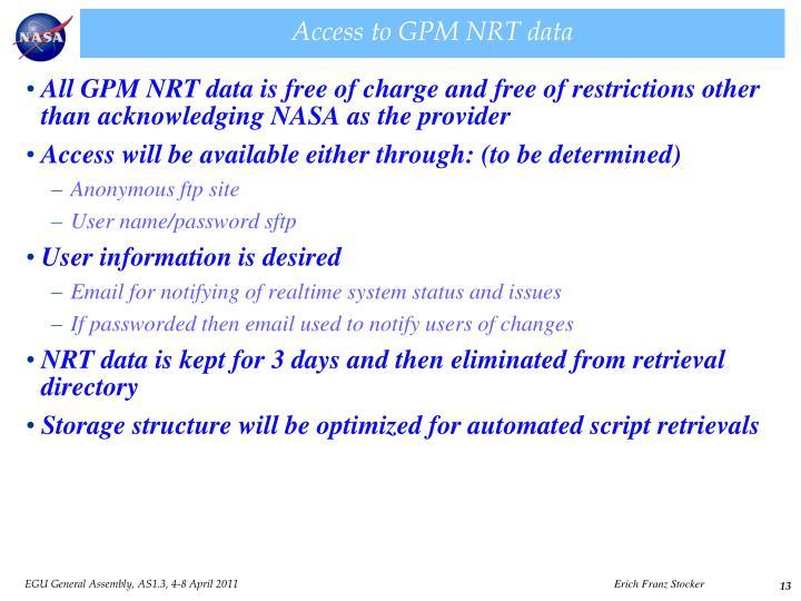 Access to GPM NRT data