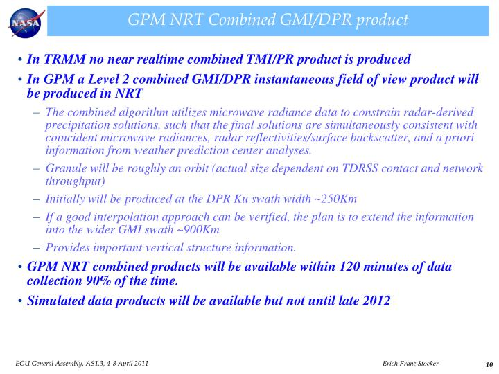 GPM NRT Combined GMI/DPR product