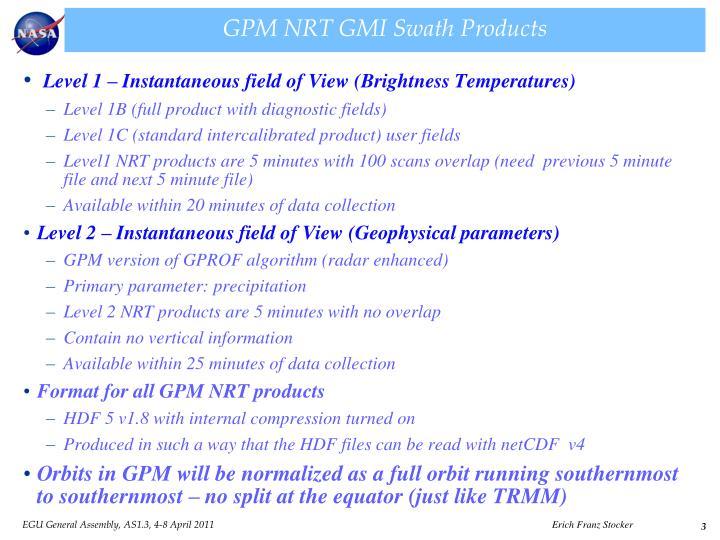 Gpm nrt gmi swath products