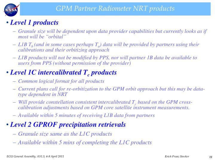 GPM Partner Radiometer NRT products