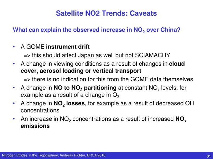 Satellite NO2 Trends: Caveats