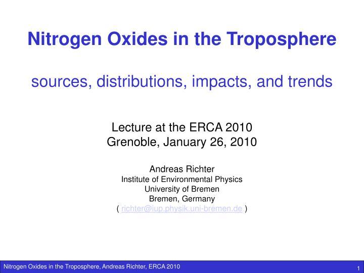 Nitrogen Oxides in the Troposphere