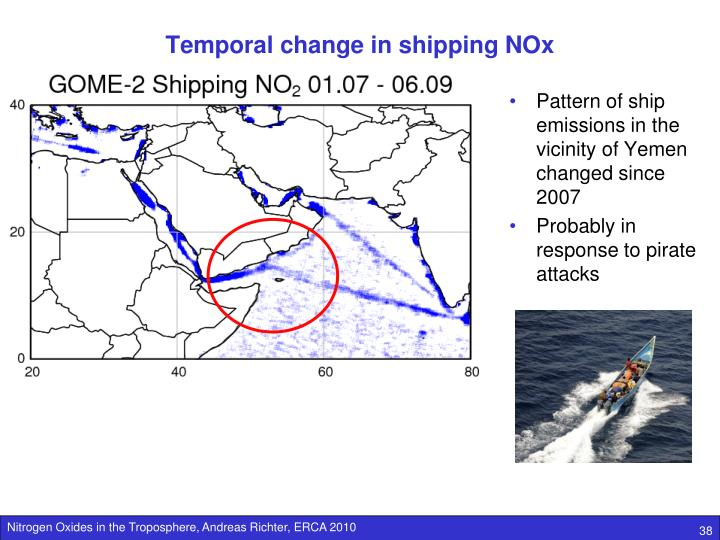 Temporal change in shipping NOx