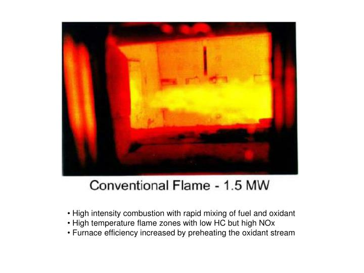 High intensity combustion with rapid mixing of fuel and oxidant