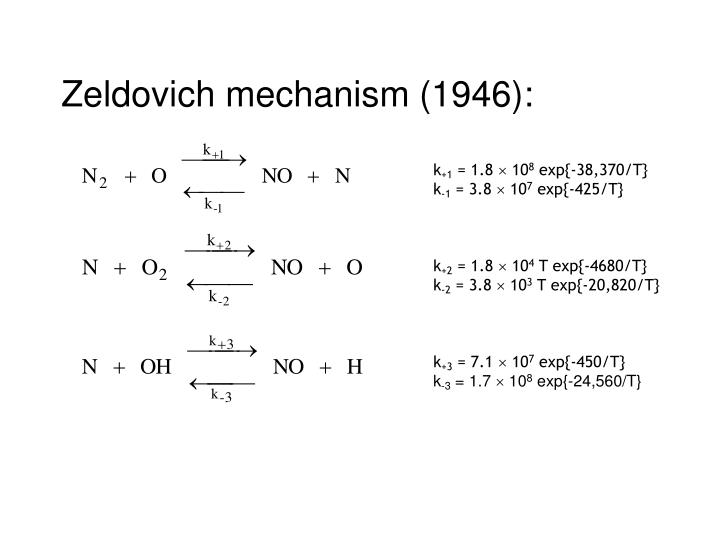 Zeldovich mechanism (1946):