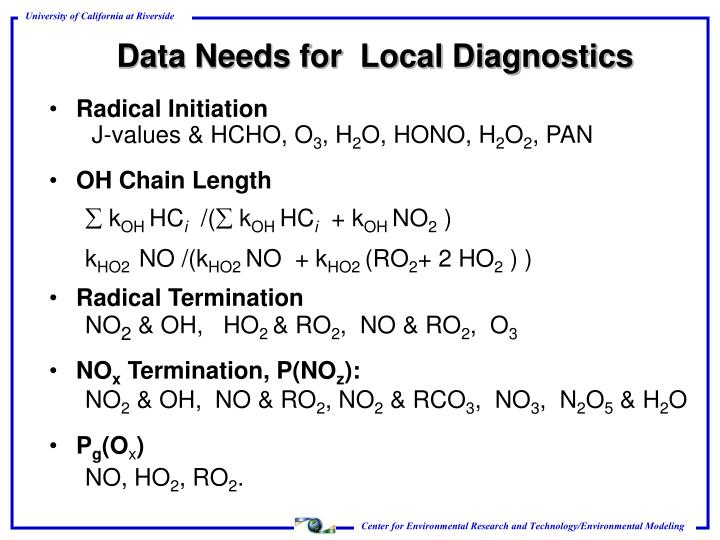 Data Needs for  Local Diagnostics