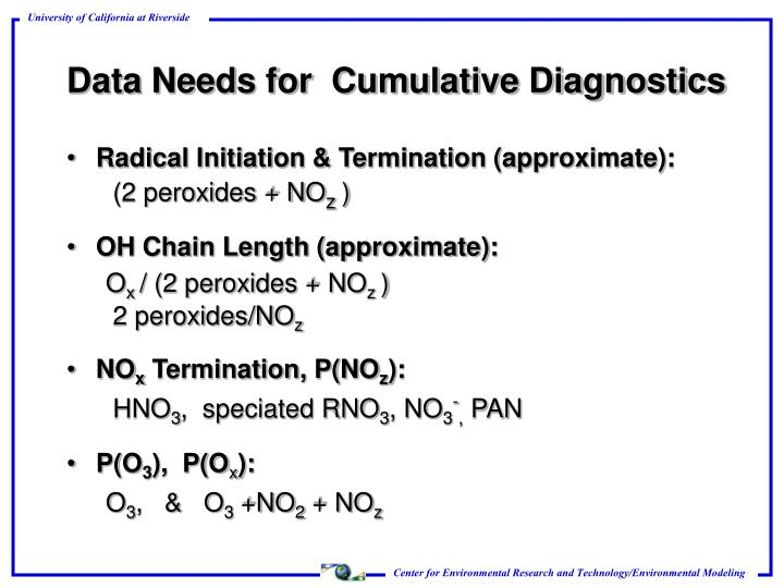 Data Needs for  Cumulative Diagnostics