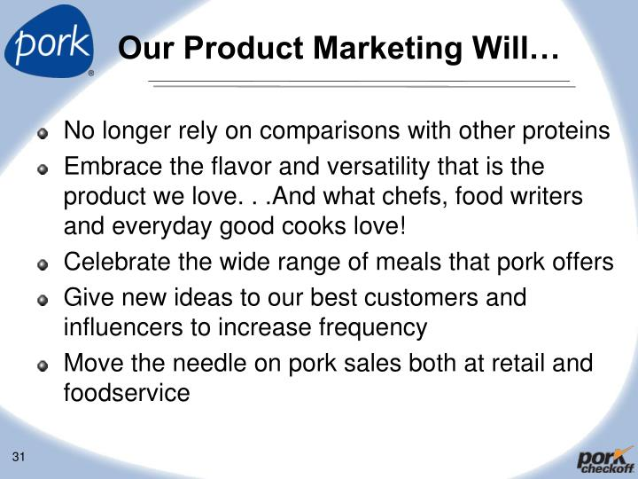 Our Product Marketing Will…