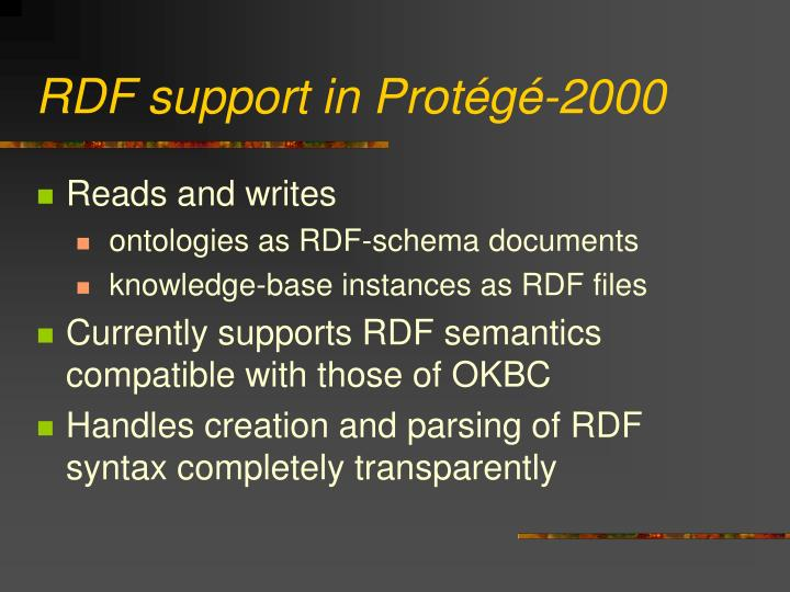 RDF support in Protégé-2000