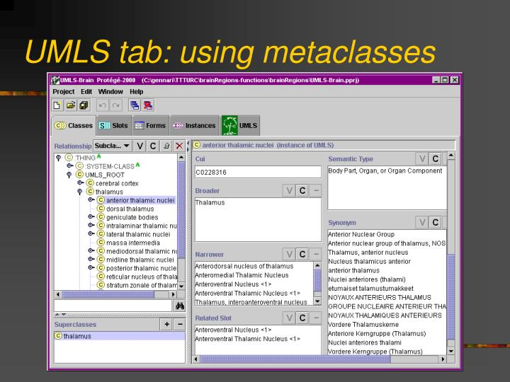 UMLS tab: using metaclasses