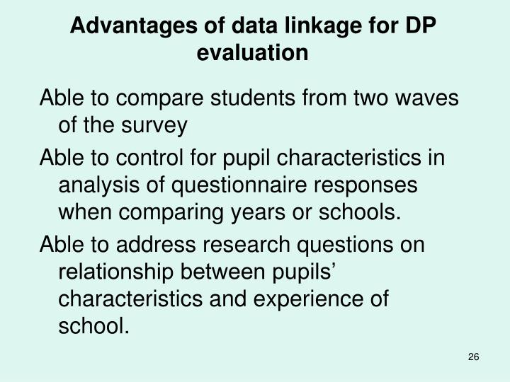 Advantages of data linkage for DP evaluation