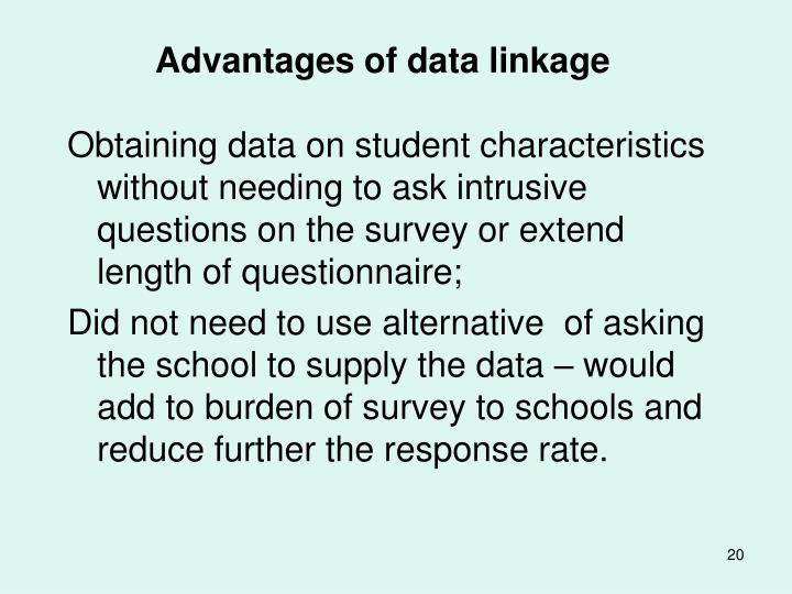 Advantages of data linkage