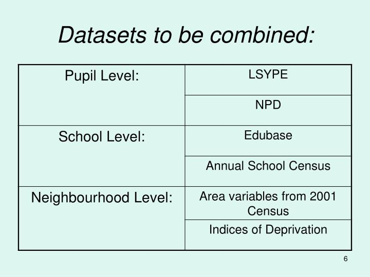 Datasets to be combined: