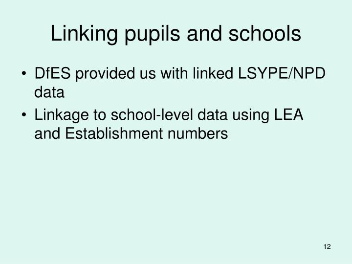Linking pupils and schools