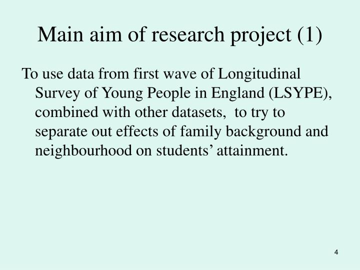 Main aim of research project (1)