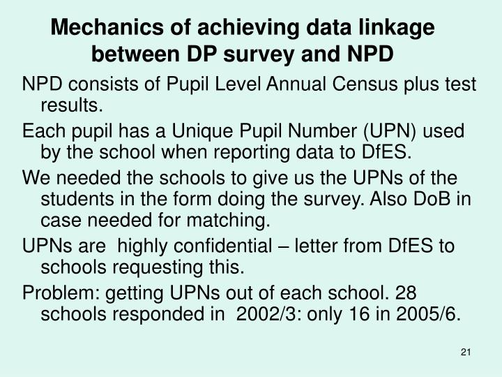 Mechanics of achieving data linkage between DP survey and NPD