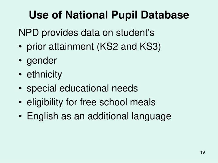 Use of National Pupil Database