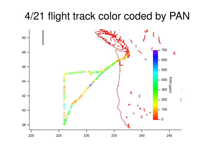 4/21 flight track color coded by PAN