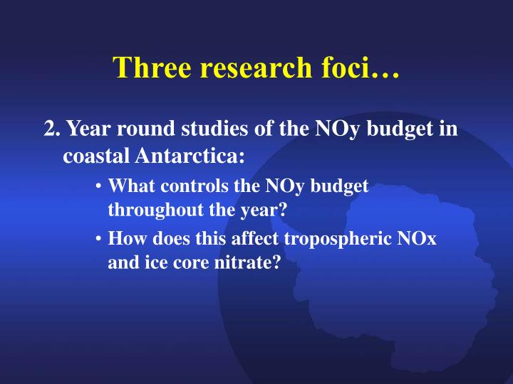 Three research foci…