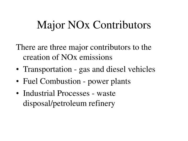 Major NOx Contributors