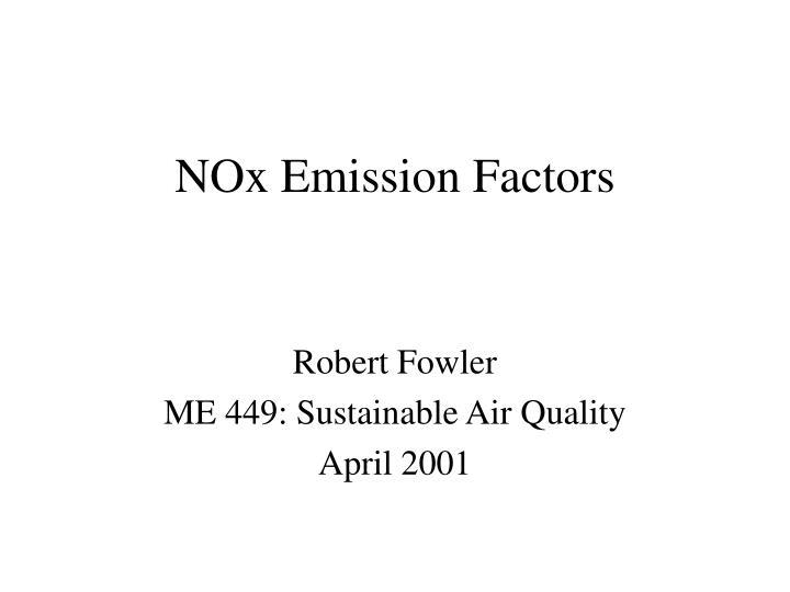 Nox emission factors