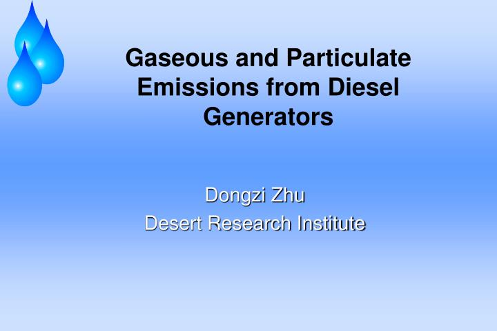 gaseous and particulate emissions from diesel generators n.